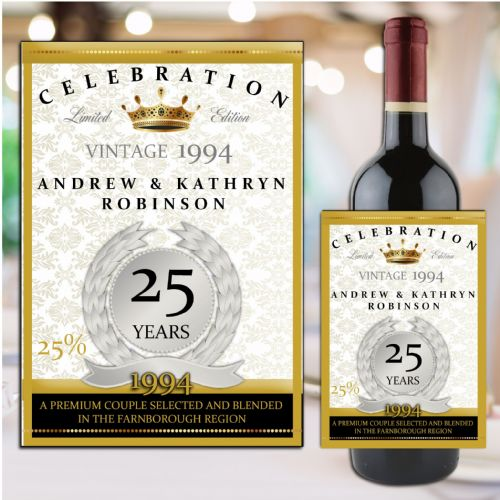 Personalised Silver 25th Wedding Anniversary Wine / Champagne Bottle Label N13